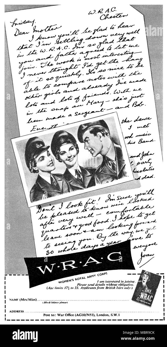 1954 British advertisement for the Women's Royal Army Corps (WRAC). - Stock Image