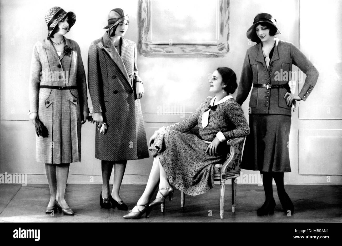 fashion four women in typical 20s fashion 1920s germany stock