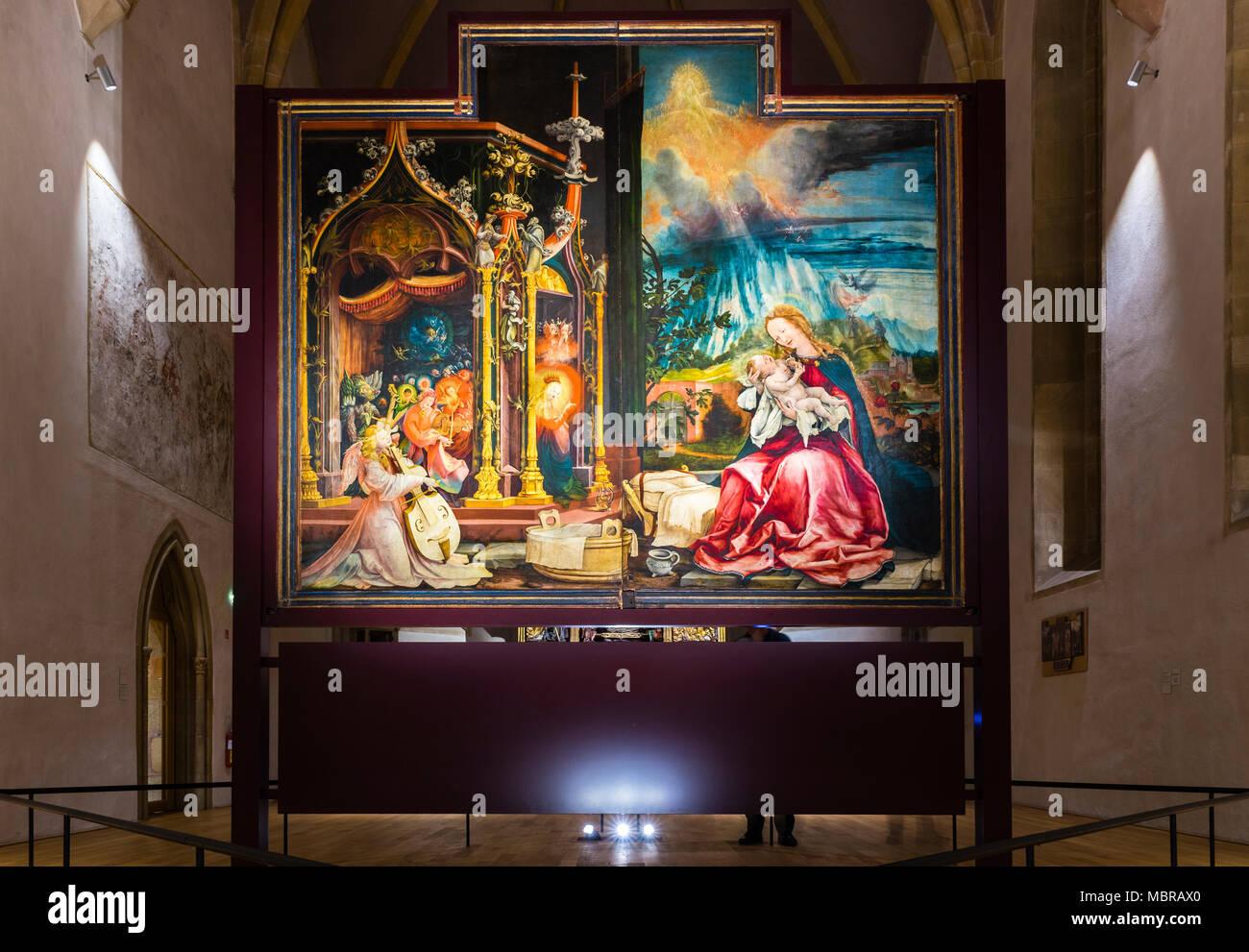 Isenheim Altar by Matthias Grünewald, Painting Angel Concert and the Incarnation of Christ, Museum Unterlinden - Stock Image