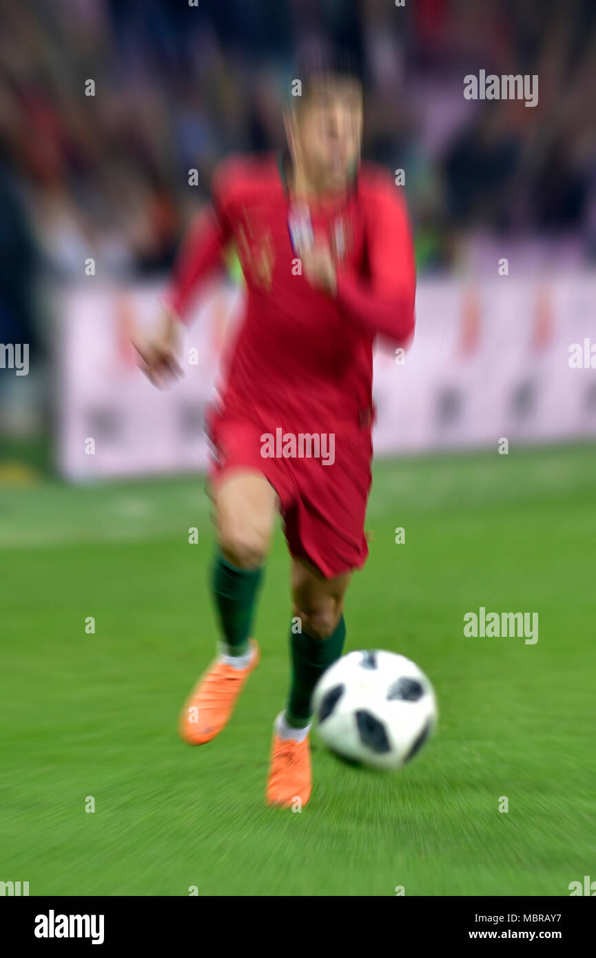 Zoom effect, Football player, Joao Cancelo, Portugal - Stock Image