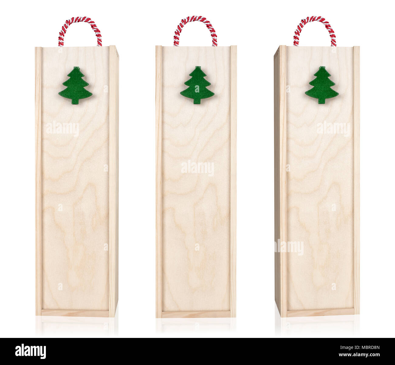 Wine Christmas Packaging.Wooden Wine Box Packaging With Handle Decorated With