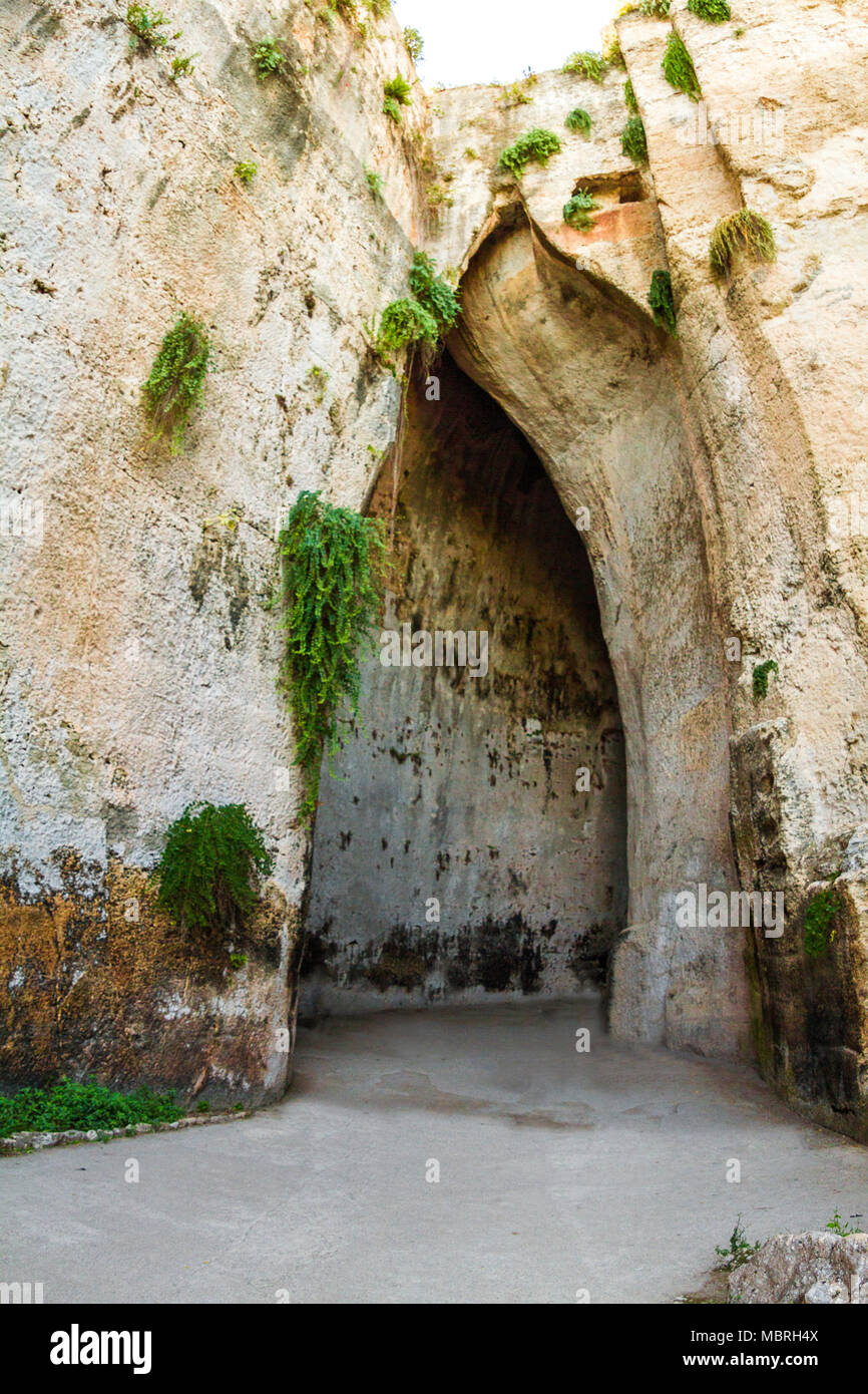 The outside of The ear of Dionysius, this famous prison situated in the city of Syracuse, Italy. - Stock Image