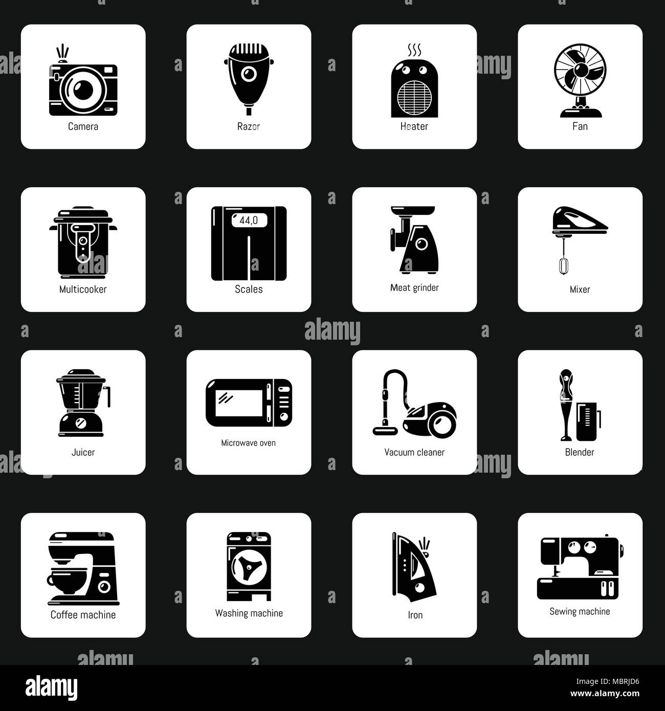 Domestic appliances icons set, simple style - Stock Image