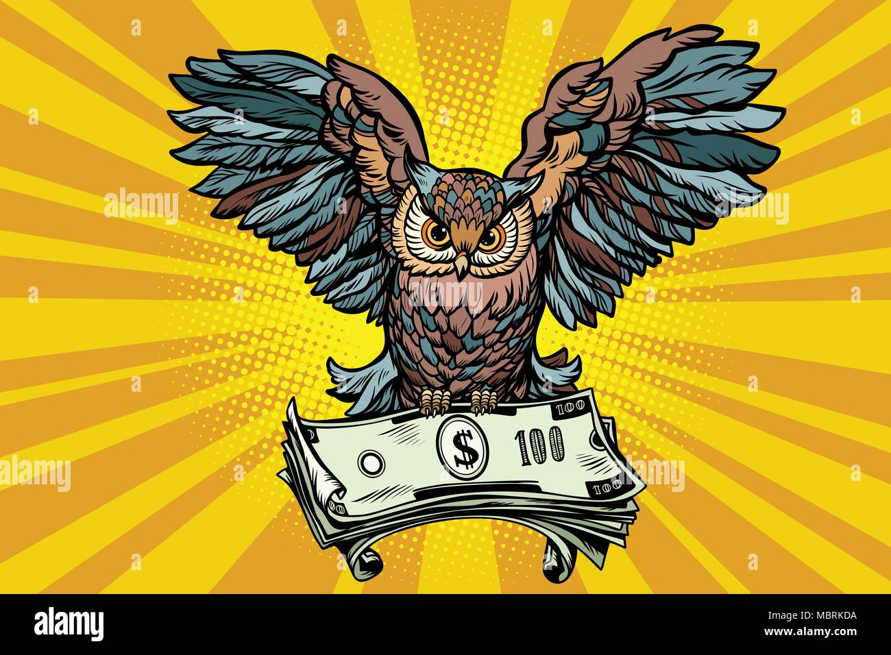 Owl holding in its talons the money - Stock Vector