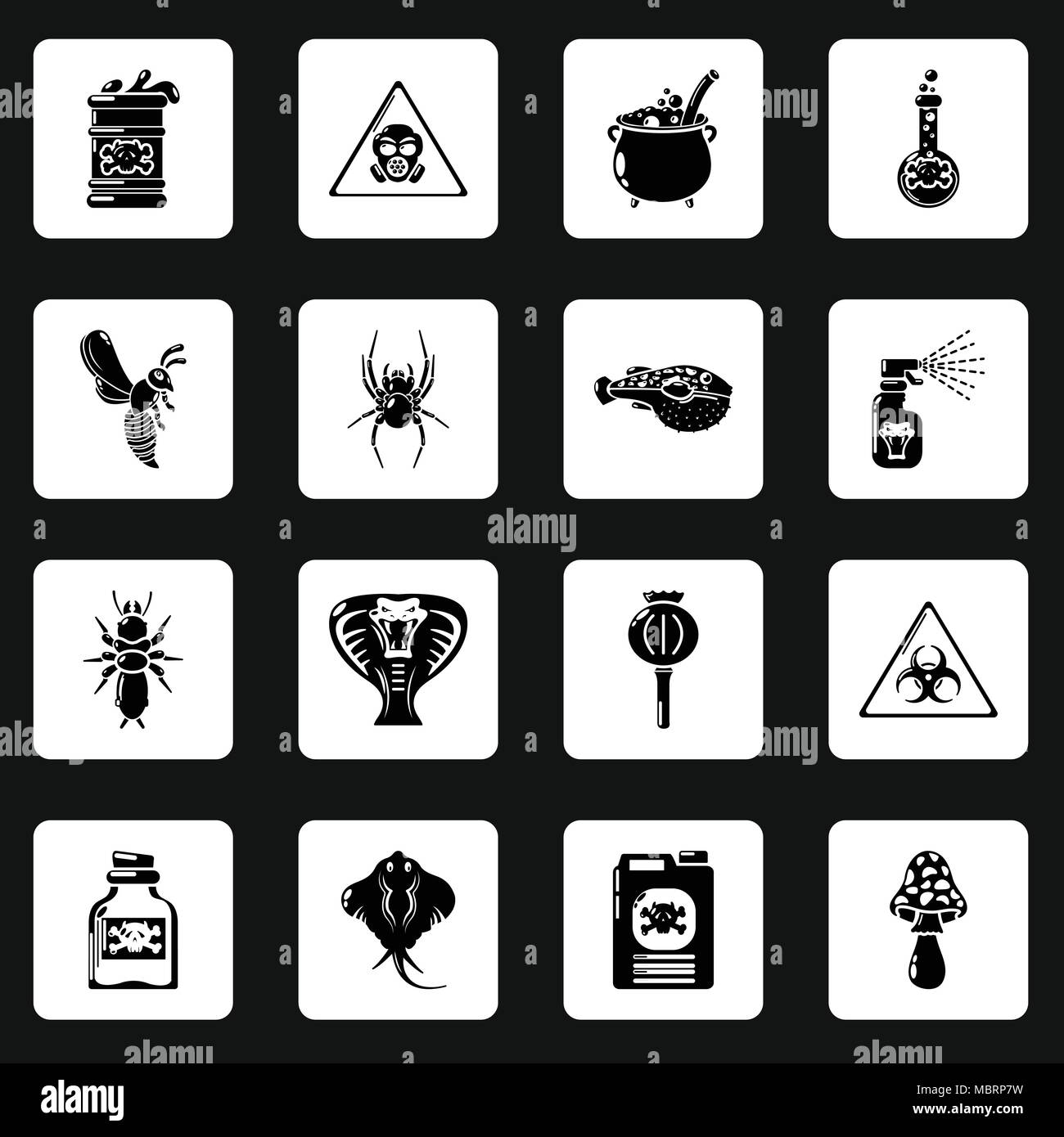 Rat poison warning sign stock photos rat poison warning sign poison danger toxic icons set simple style stock image biocorpaavc Image collections