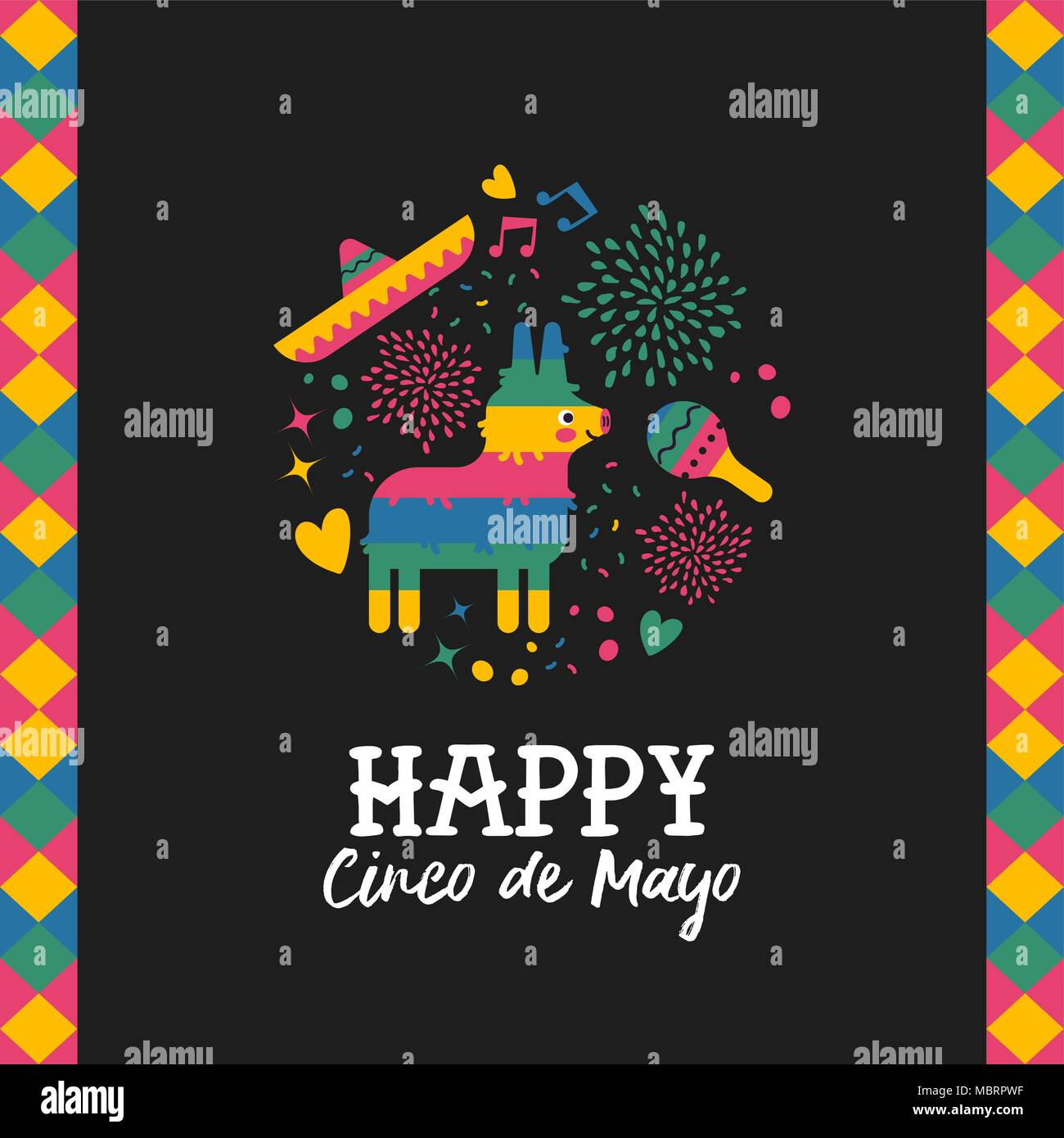 Happy cinco de mayo greeting card for traditional mexican holiday happy cinco de mayo greeting card for traditional mexican holiday with cute donkey pinata and hand drawn elements festive mexico culture illustration m4hsunfo Image collections