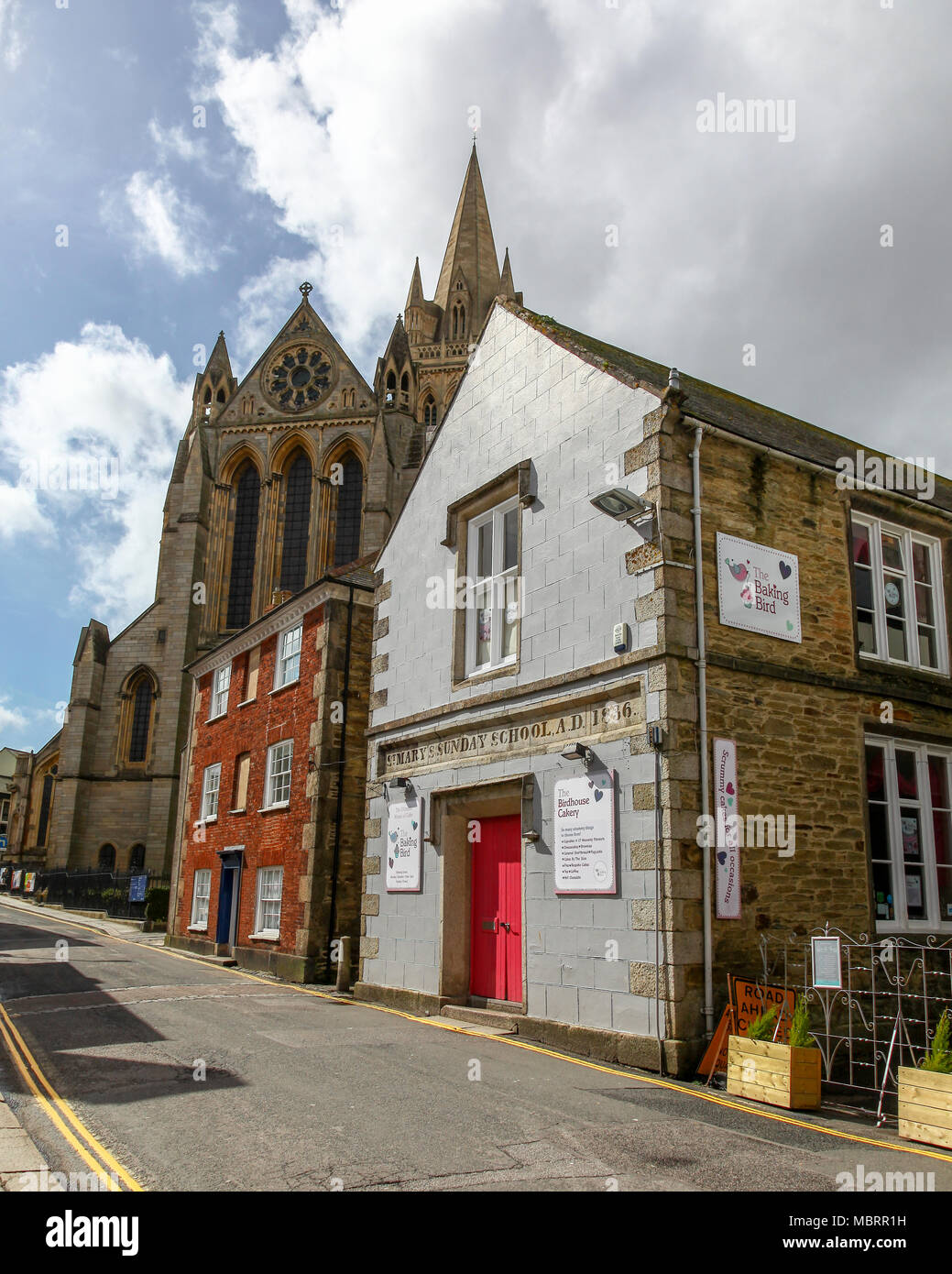 St. Mary's Sunday School building on Old Bridge Street, built in 1836 at Truro, Cornwall, South West England, UK - Stock Image