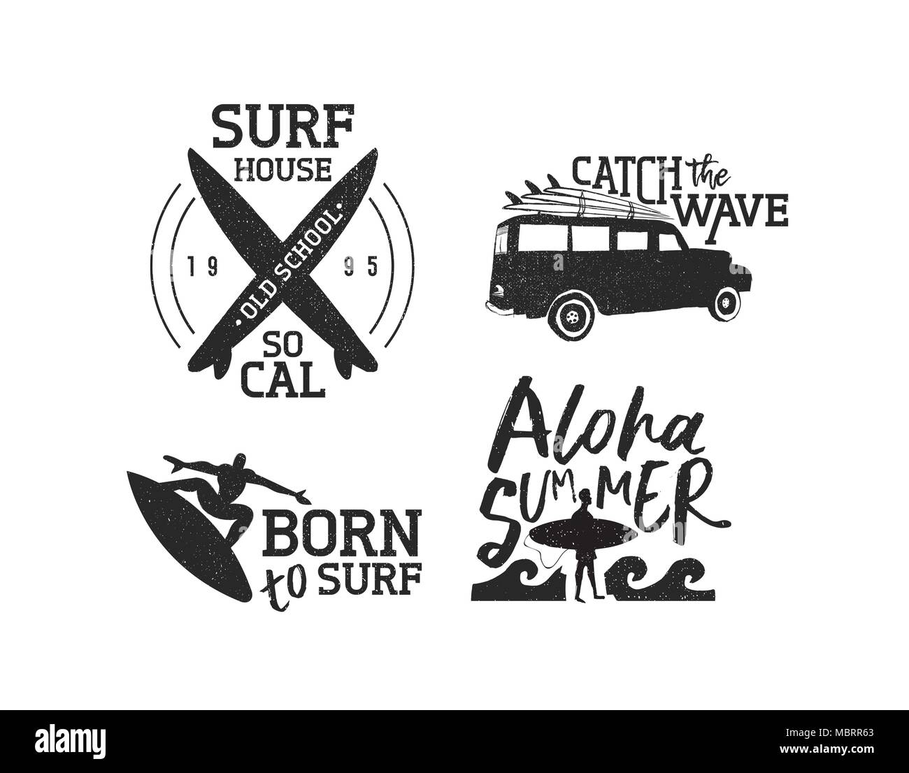 vintage old school surf label set isolated over white summer time