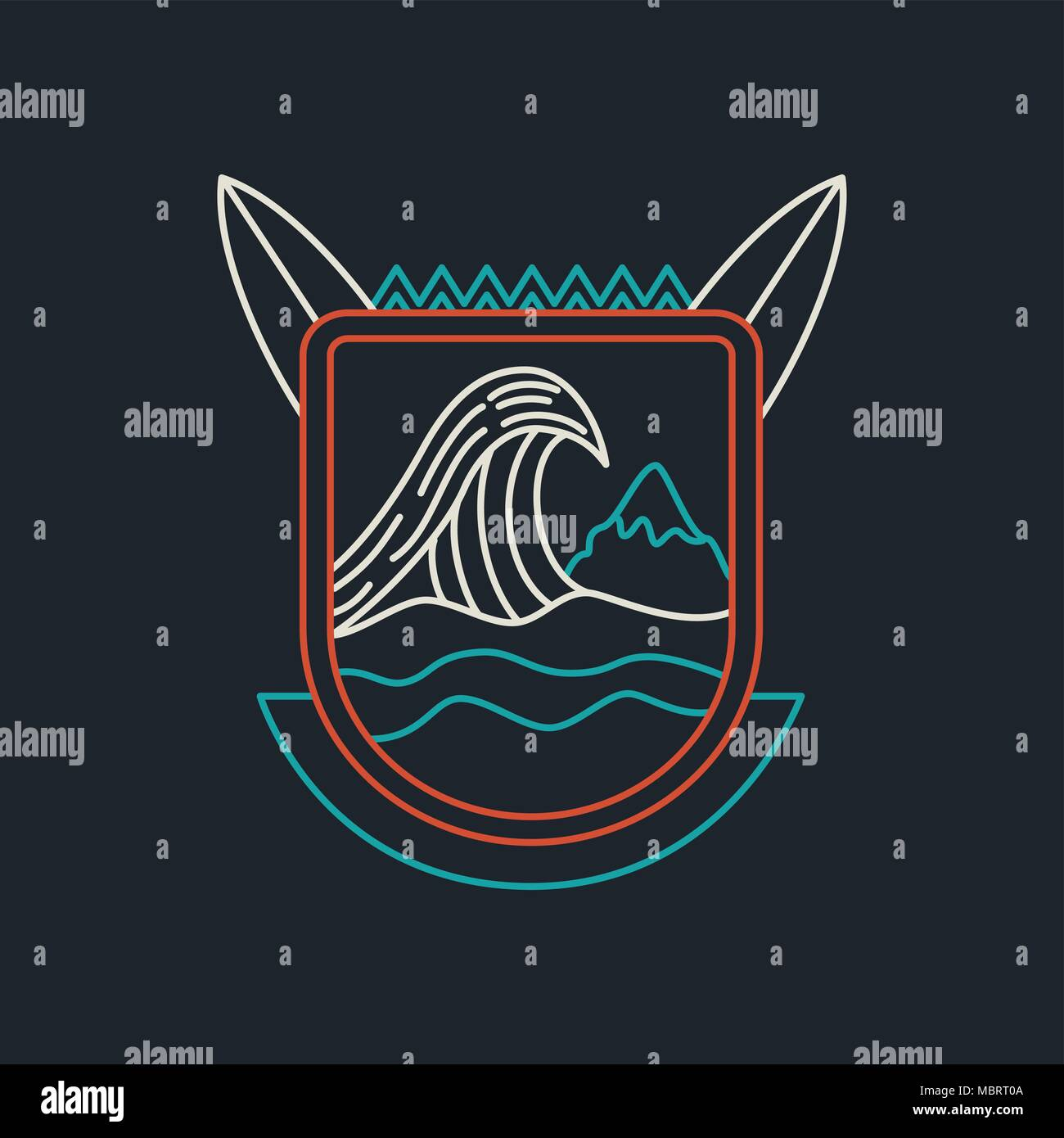 Summer surf icon in modern line style. Flat vacation emblem design with ocean wave, surfboard and mountains. EPS10 vector. - Stock Vector