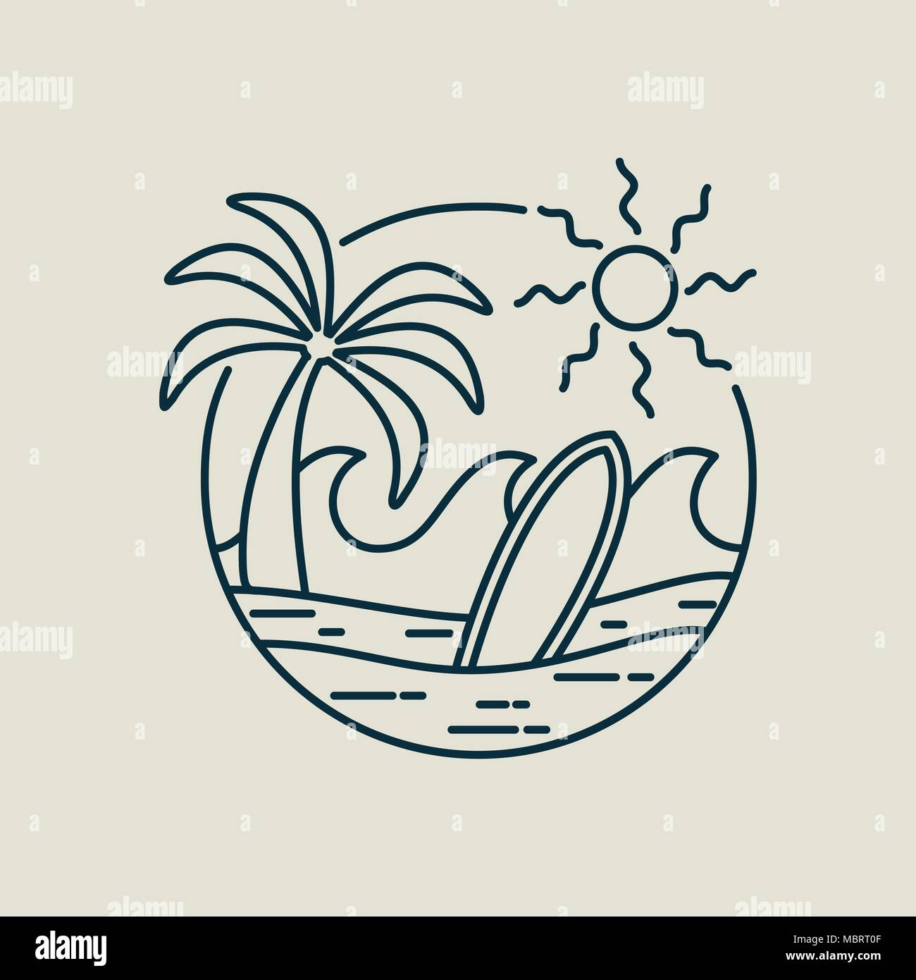 Surf line art stamp in modern flat style. Paradise beach illustration with palm tree, ocean waves and surfboard. EPS10 vector. - Stock Vector