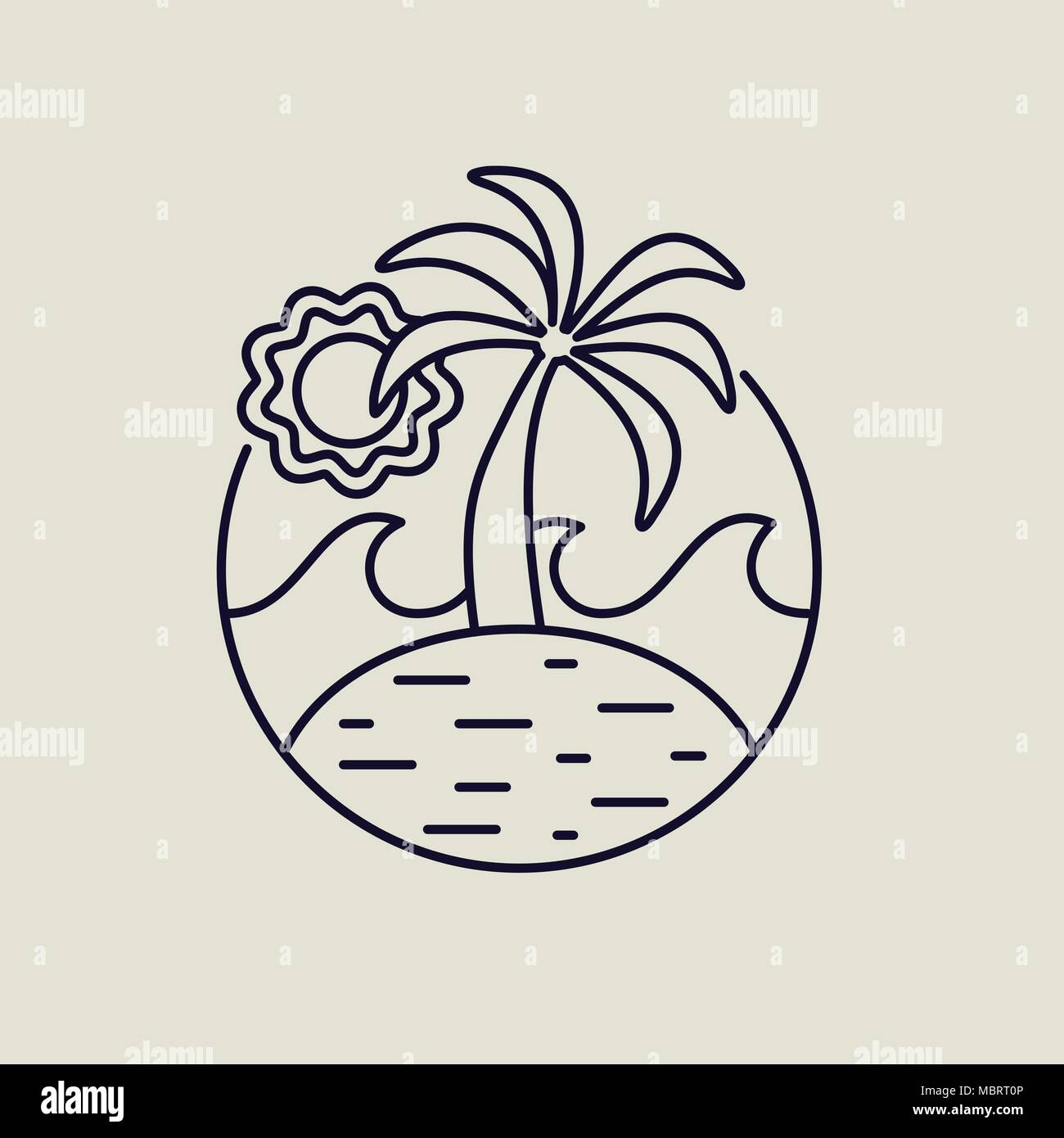 Tropical island line art icon in modern flat style. Summer beach illustration with palm trees, ocean waves and sun. EPS10 vector. - Stock Vector