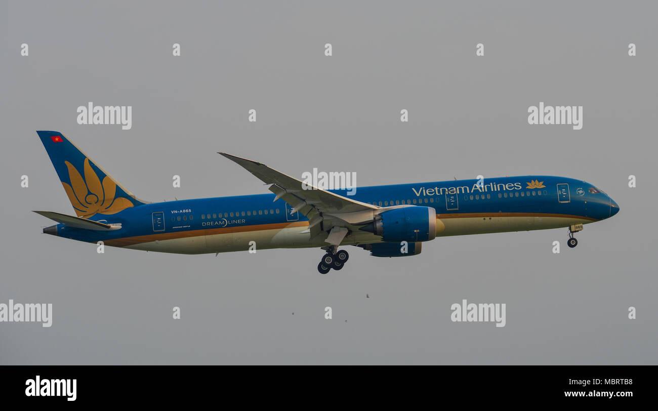 Saigon, Vietnam - Mar 11, 2018. A civil aircraft is landing at Tan Son Nhat Airport in Saigon (Ho Chi Minh City), Vietnam. - Stock Image