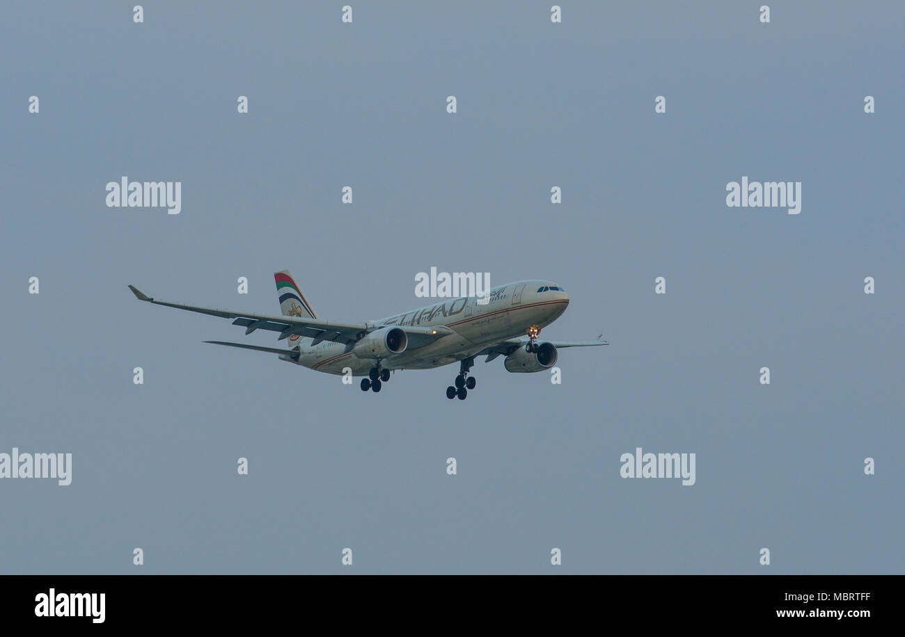 Saigon, Vietnam - Mar 11, 2018. A civil aircraft is landing at Tan Son Nhat International Airport in Saigon (Ho Chi Minh City), Vietnam. Stock Photo