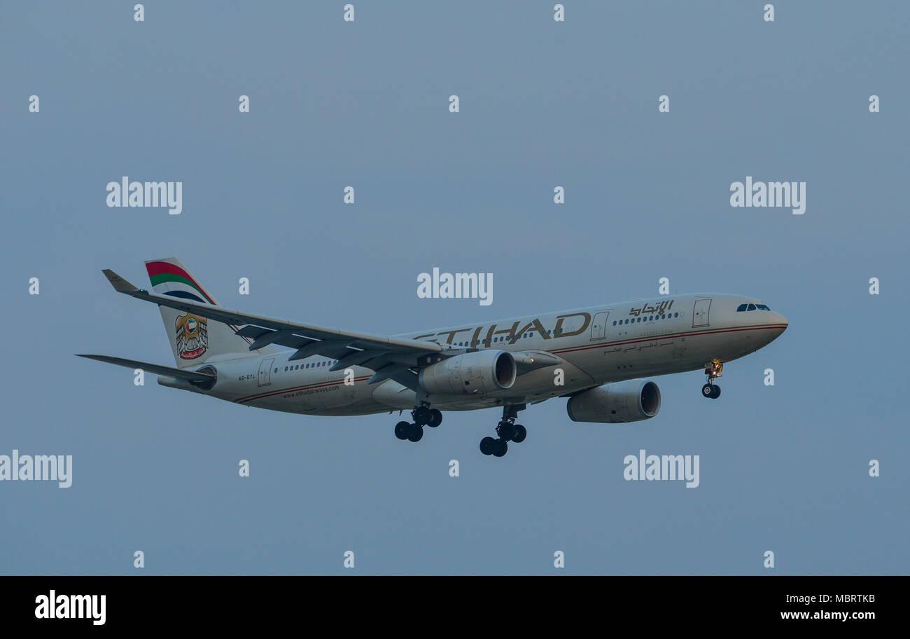 Saigon, Vietnam - Mar 11, 2018. A civil aircraft is landing at Tan Son Nhat International Airport in Saigon (Ho Chi Minh City), Vietnam. - Stock Image