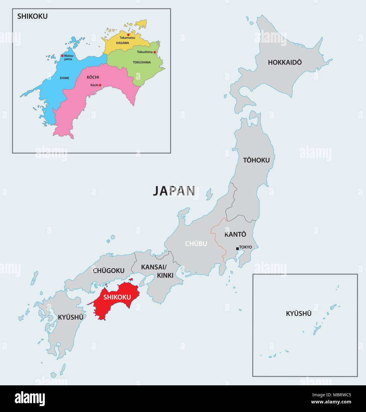 japan region shikoku map Stock Vector