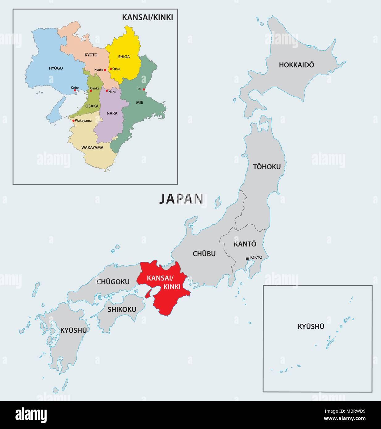 japan region kinki map - Stock Image