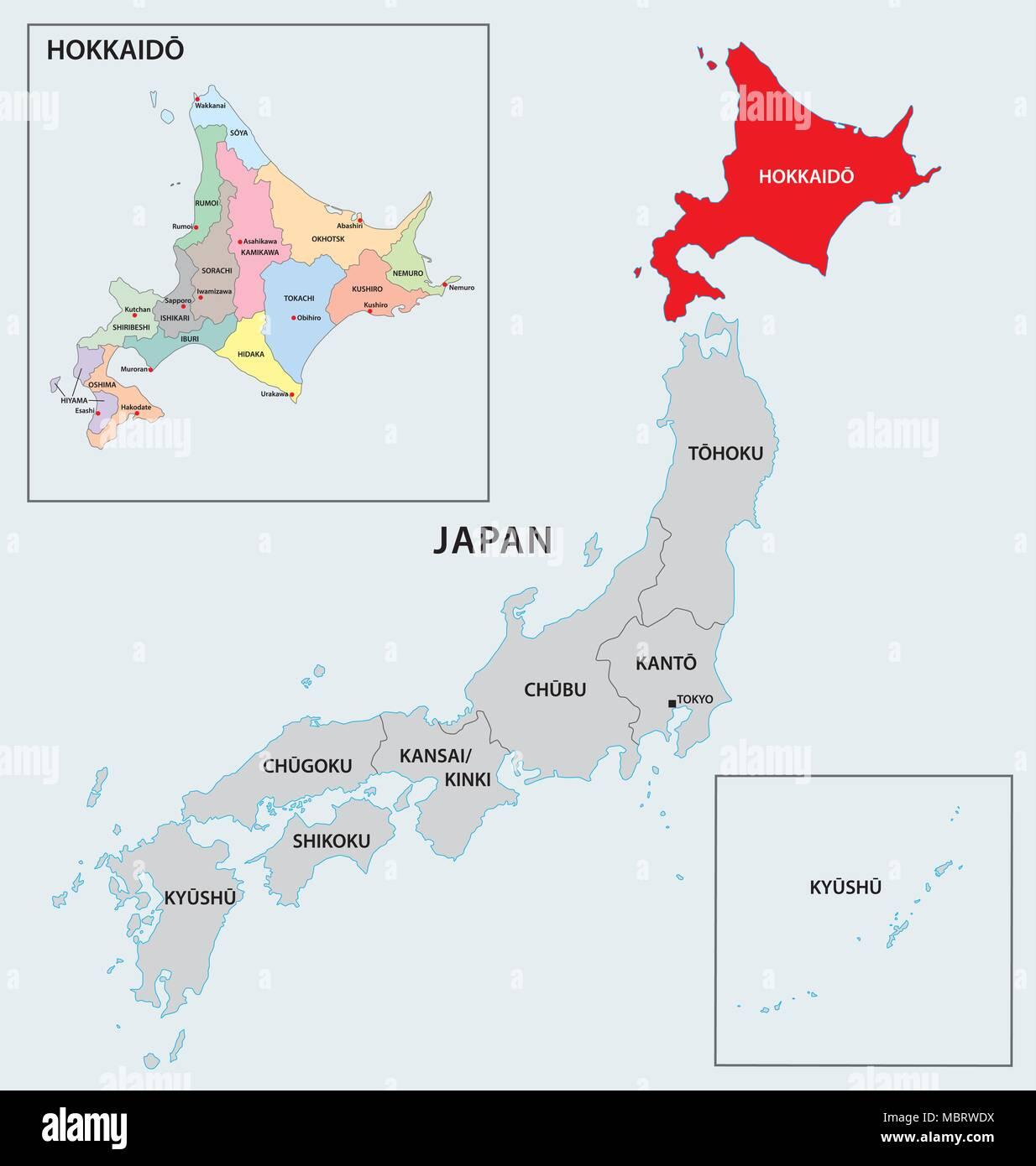 japan region hokkaido map - Stock Vector