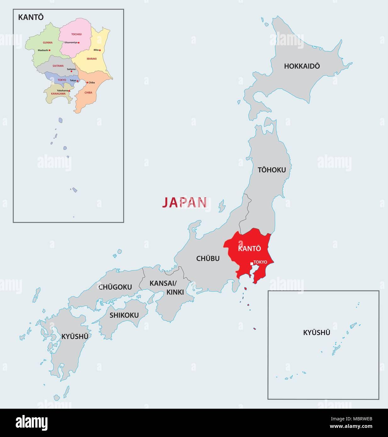 japan region kanto map - Stock Vector