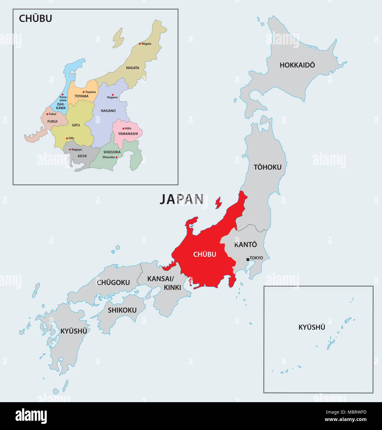 japan region chubu map - Stock Vector