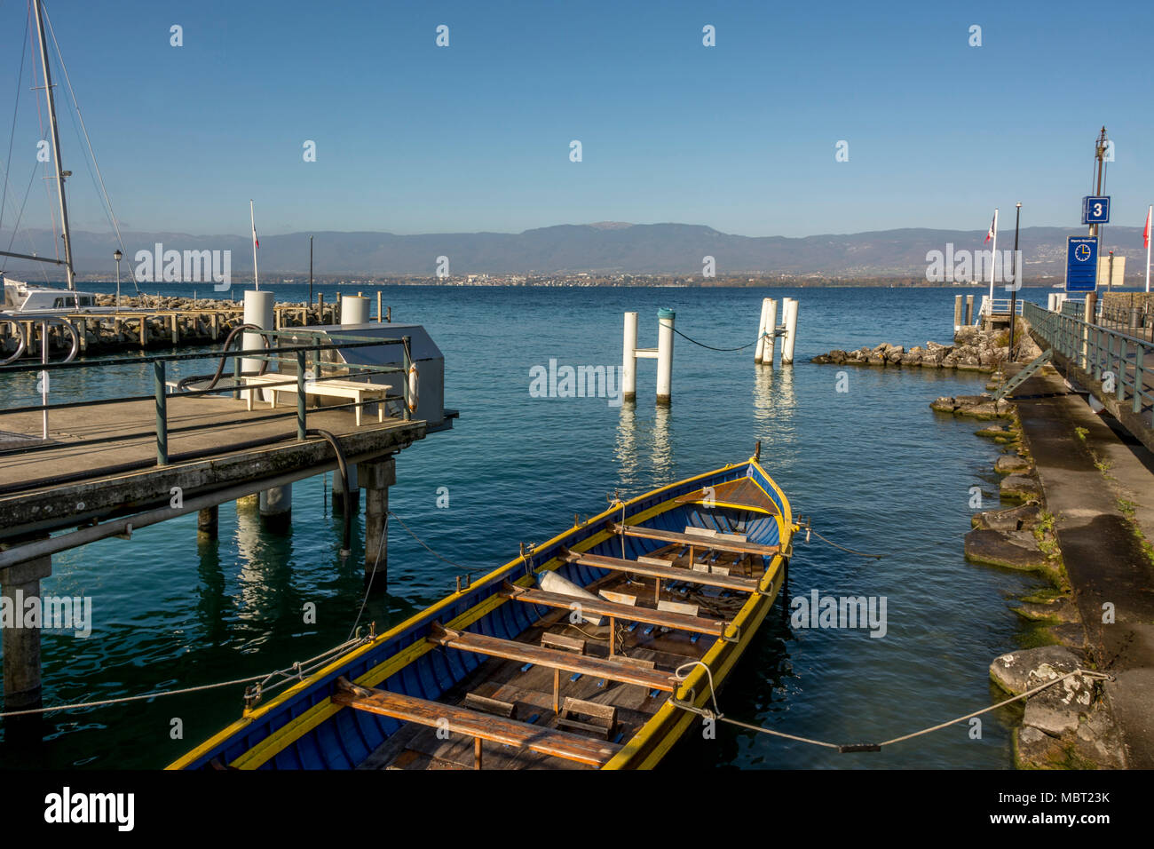 Typical small boat. Old port on Lac Leman, Lake Geneva, Yvoire village, Rhone-Alpes, Haute-Savoie, France - Stock Image