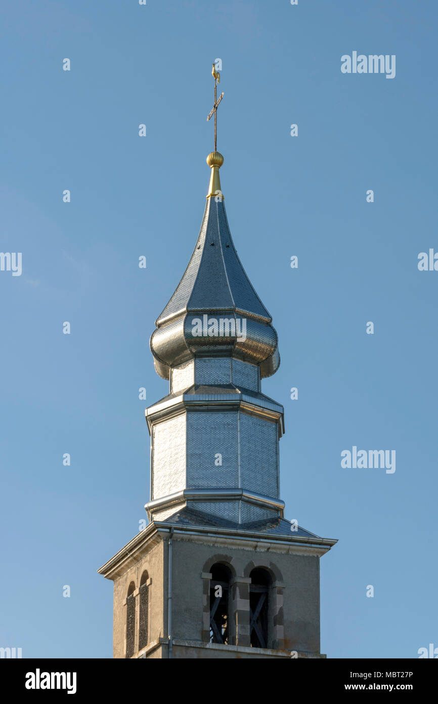 Yvoire village. Typical bell tower of the church  St Pancras. Haute Savoie. France - Stock Image