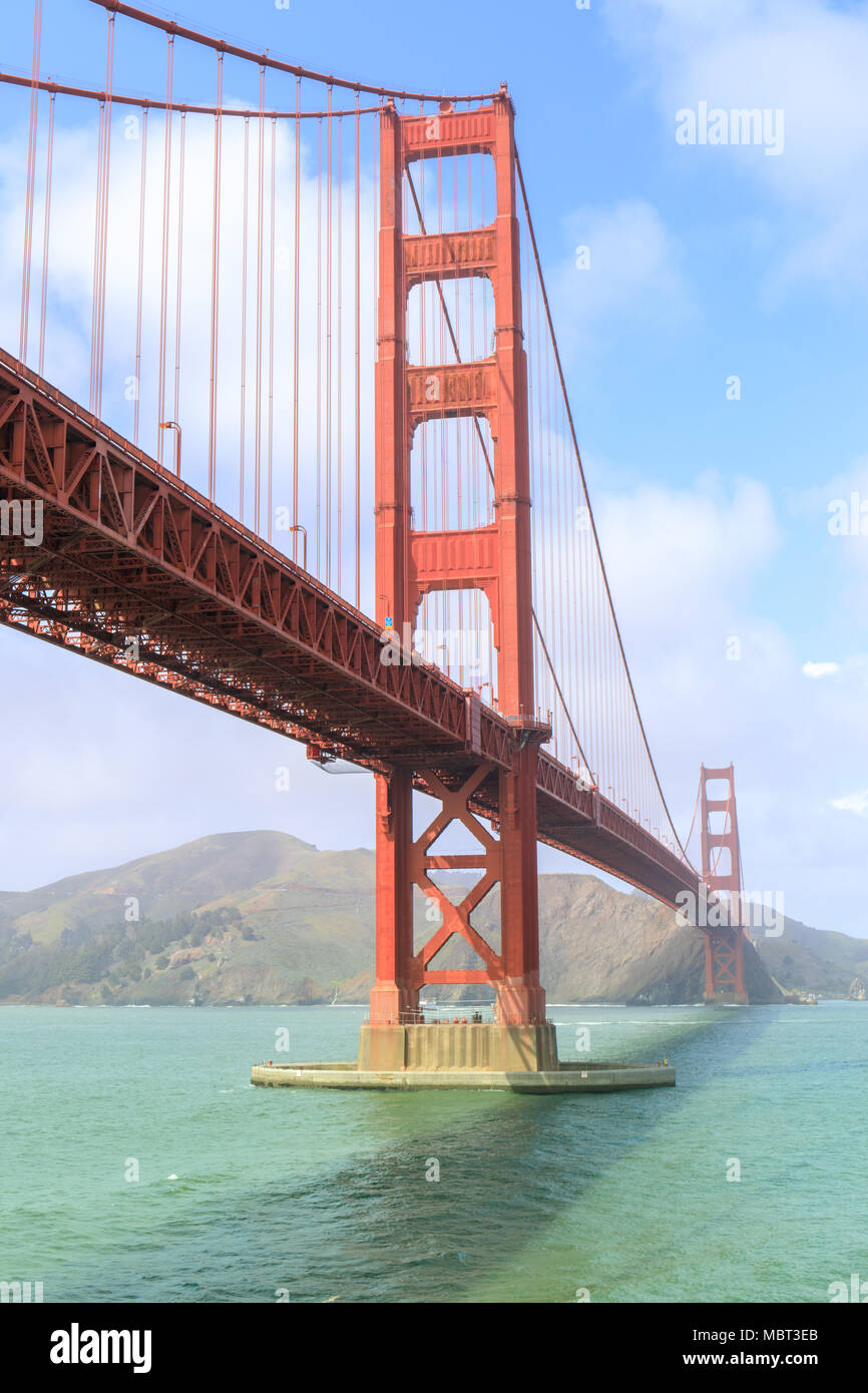 View of the Golden Gate Bridge from Fort Point. - Stock Image