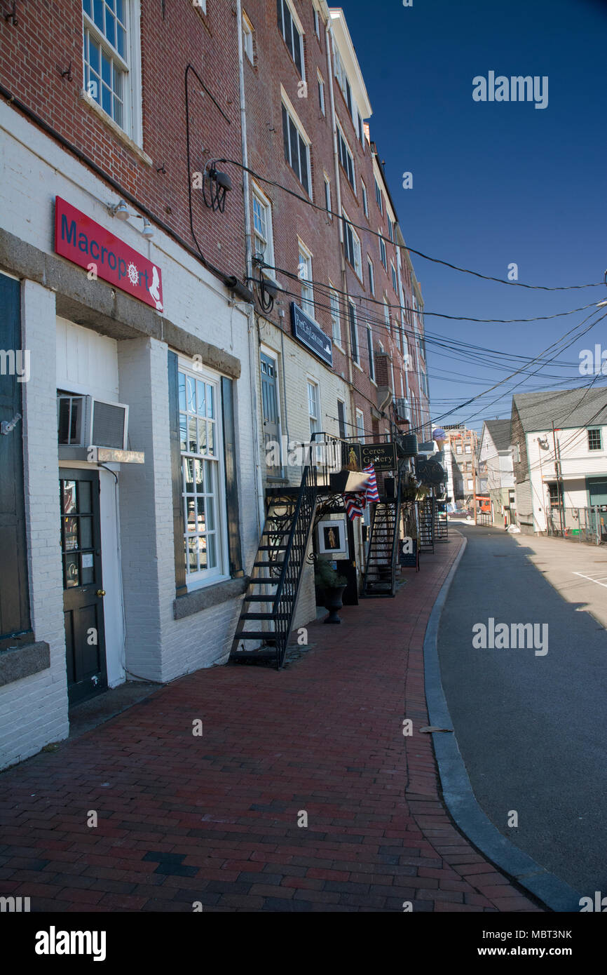 Small side street that have a variety of vendors. - Stock Image