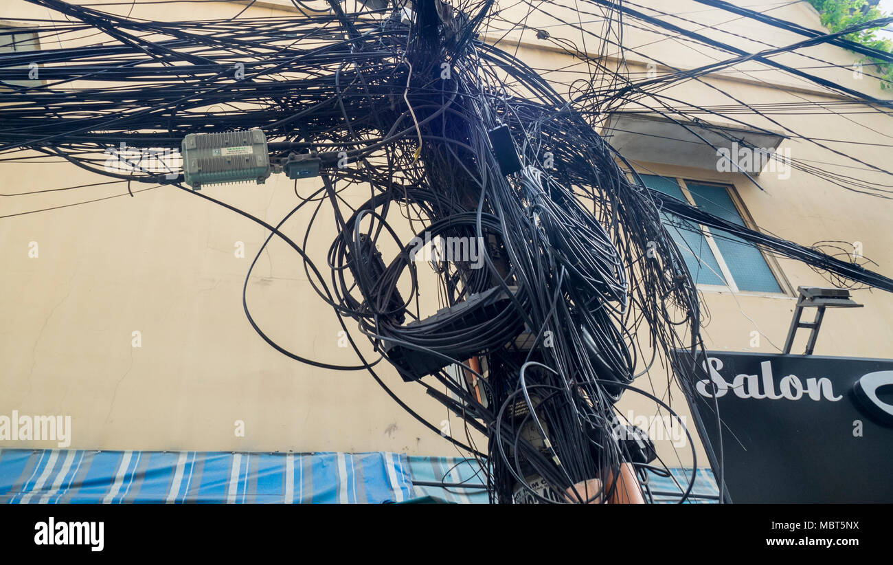 Electrical And Telephone Wires Tangled Up On Power Poles In Ho Chi Connection Wiring Minh City Vietnam
