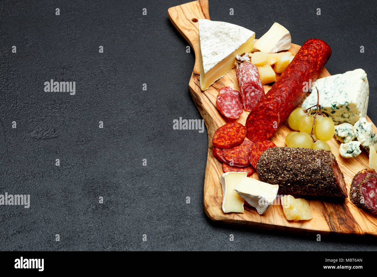 Cold meat cheese plate with salami sausage and cheese Stock Photo