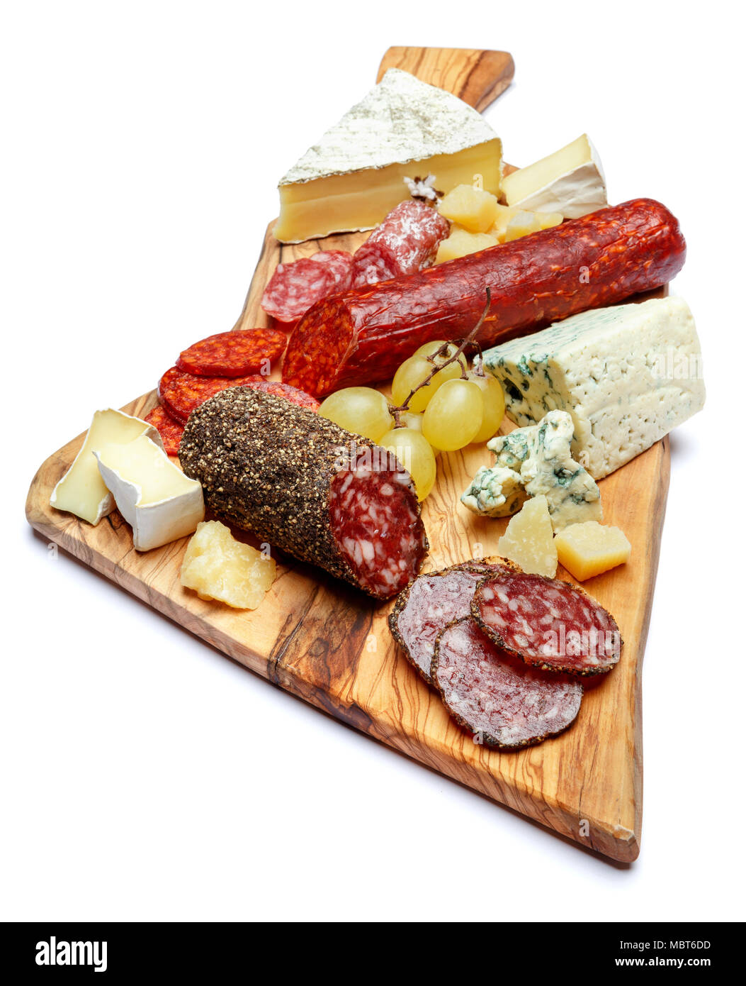 Cold meat cheese plate with salami sausage and cheese - Stock Image