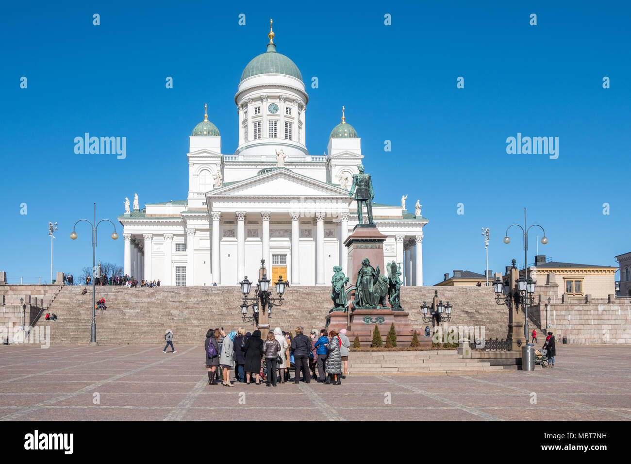 Helsinki Cathedral on a sunny day in April. The cathedral was completed in 1852 and seats 1300 people. - Stock Image