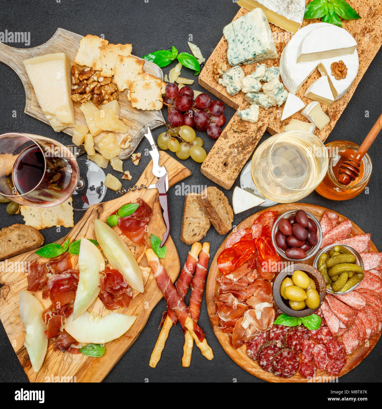 Cold meat cheese plate with salami chorizo sausage prosciutto cheese and wine & Cold meat cheese plate with salami chorizo sausage prosciutto ...