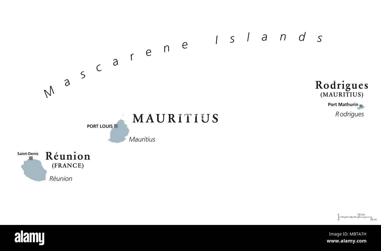 Mascarene Islands political map Mauritius Reunion and Rodrigues