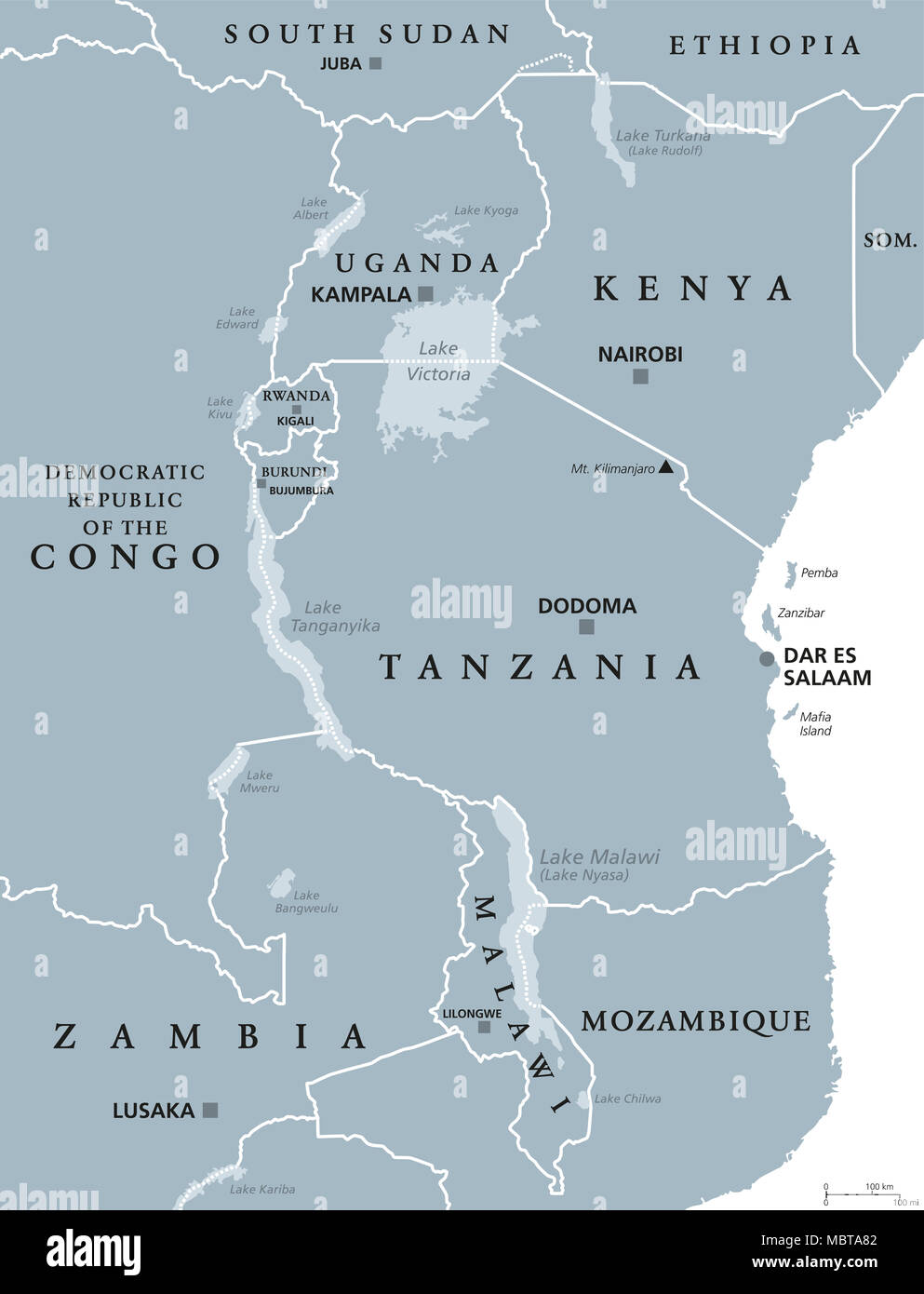 Lake Victoria On Map Of Africa.African Great Lakes Political Map With Capitals And Borders Lake