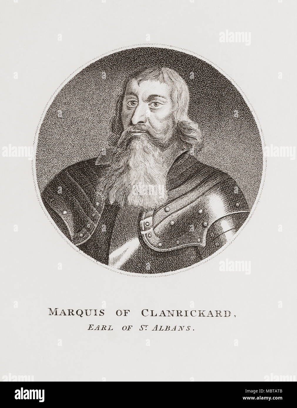 Ulick MacRichard Burke, 1st Marquess of Clanricarde, 5th Earl of Clanricarde, 2nd Earl of St Albans, 1604-1657.  Irish nobleman.  From Woodburn's Gallery of Rare Portraits, published 1816. - Stock Image