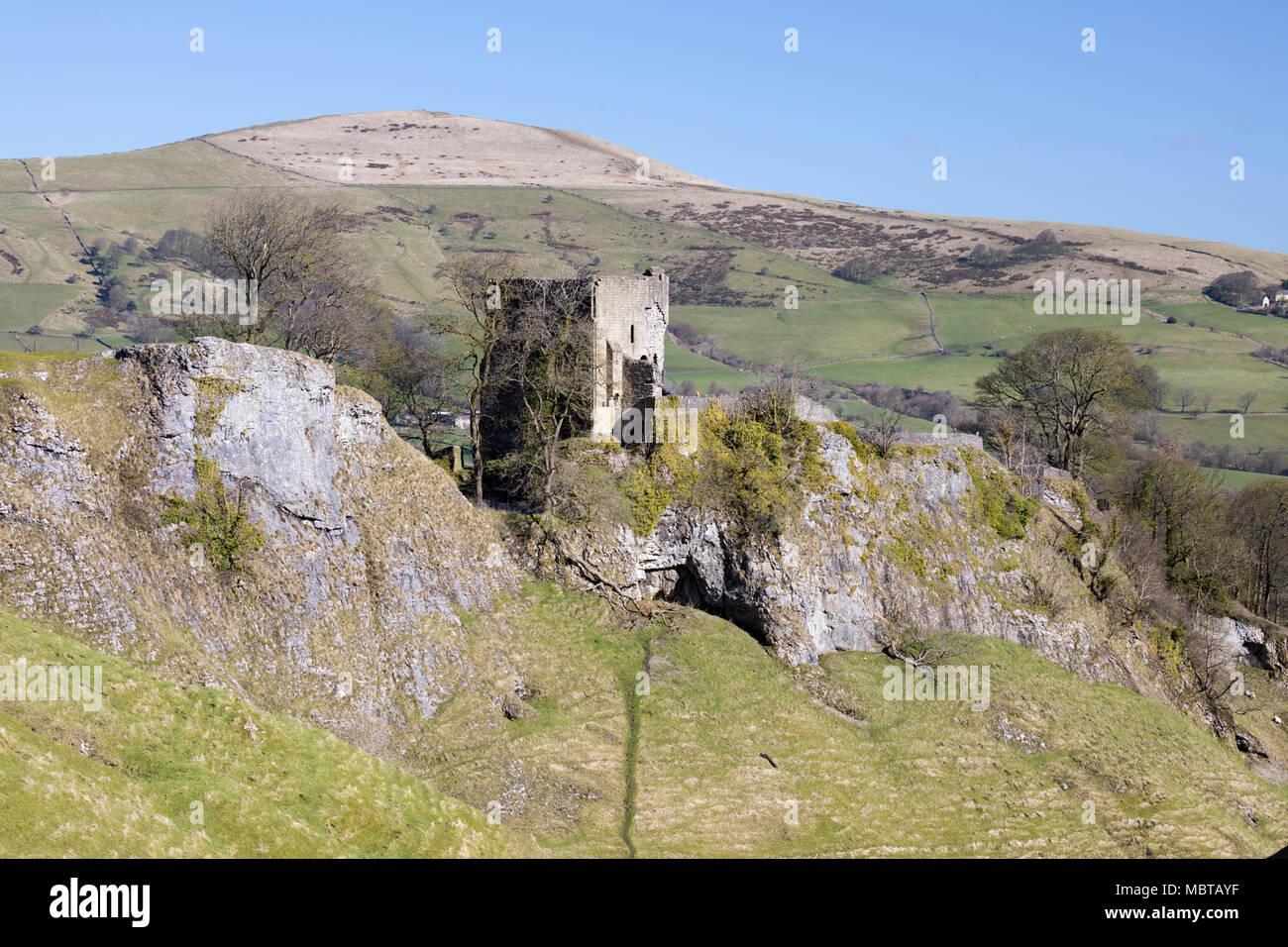 Ruins of Peveril Castle, Castleton, Peak District National Park, Derbyshire, England, United Kingdom, Europe - Stock Image