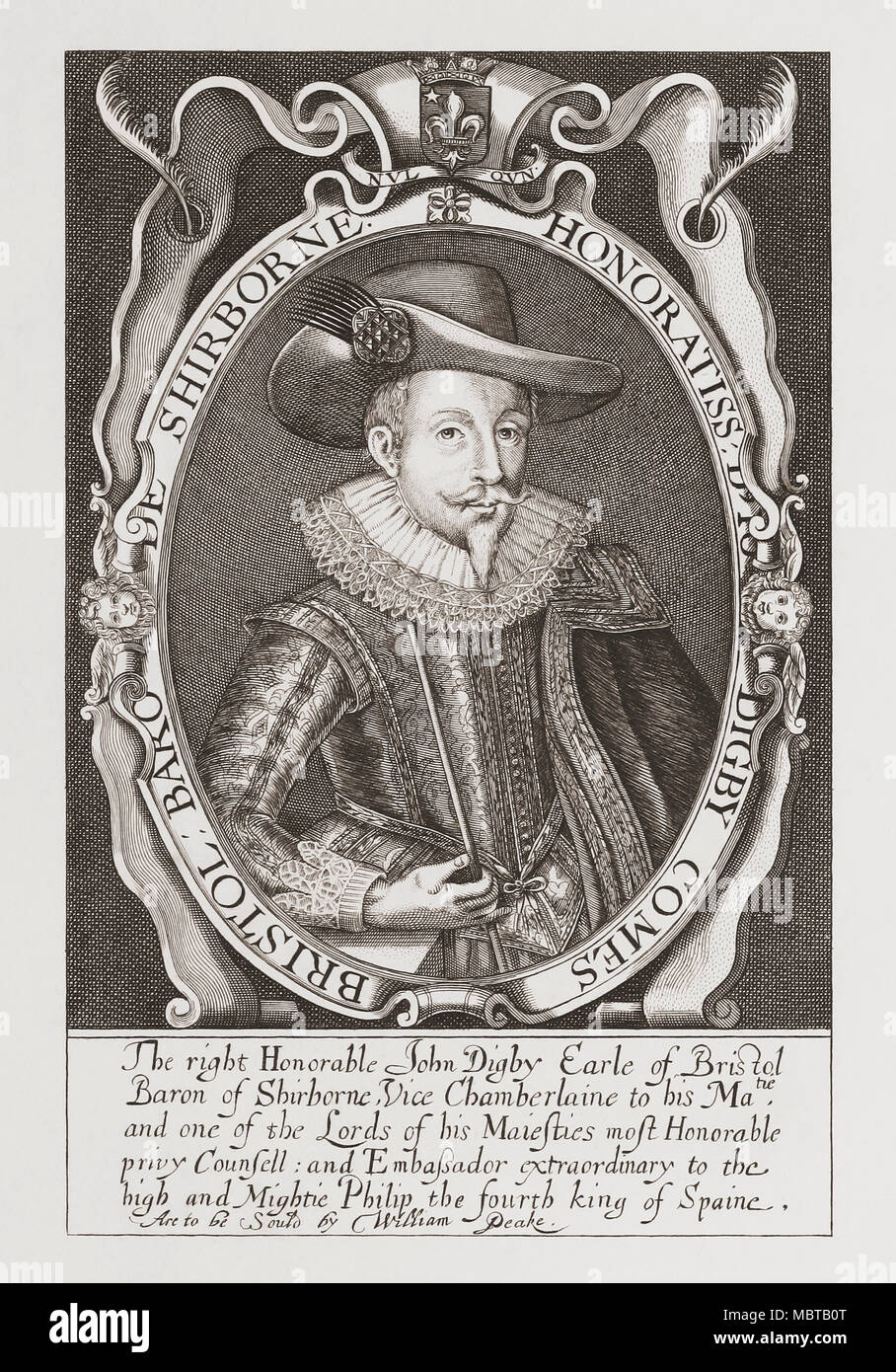 John Digby, 1st Earl of Bristol, 1580 - 1653.  English diplomat.   From Woodburn's Gallery of Rare Portraits, published 1816. - Stock Image