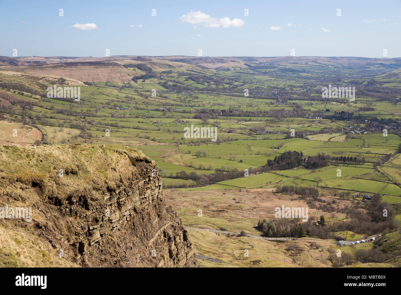 View over the Hope Valley from summit of Mam Tor, Castleton, Peak District National Park, Derbyshire, England, United Kingdom, Europe - Stock Image