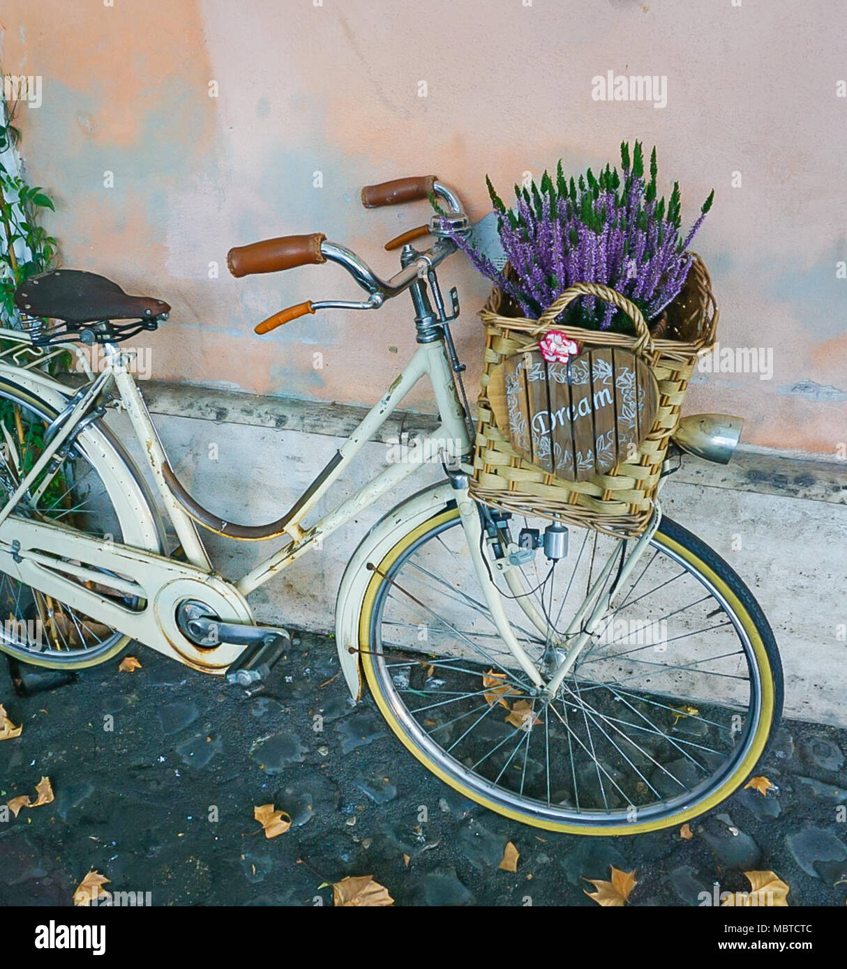 A bike on coblestone sidewalk with basket of Lavender flowers and dream sign Stock Photo