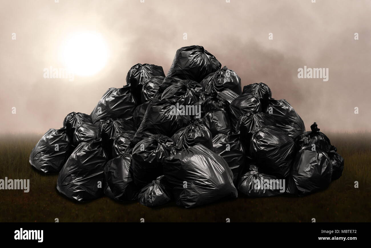 Mountain waste garbage bags plastic black many hill, Pollution from waste, background pollution of environmental damage issues on a foggy dark cloudy - Stock Image