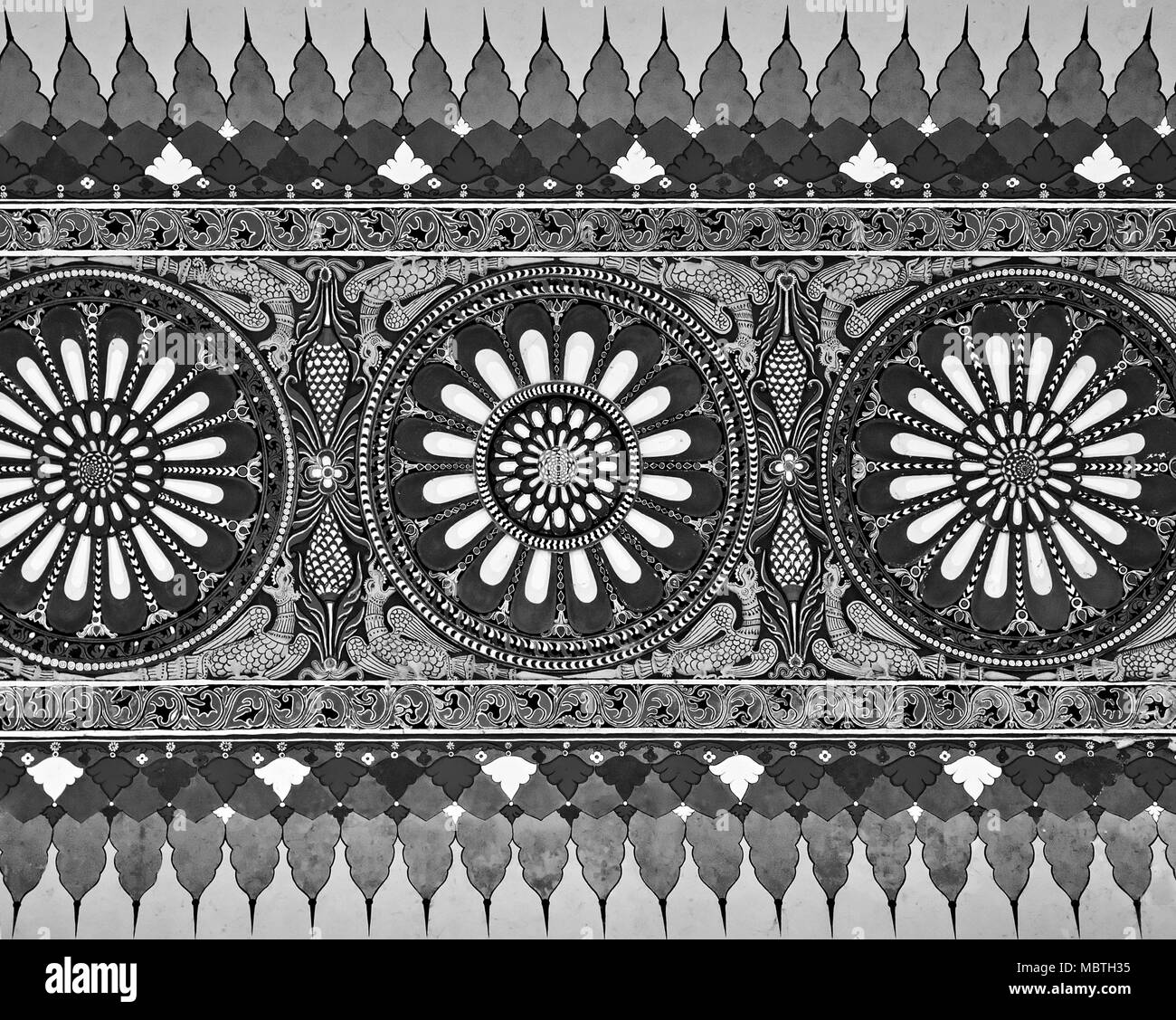 AGRA, INDIA - MARCH 23: Pattern on Taj Mahal on March 23, 2012 in Agra, India. Taj Mahal is widely recognized as the jewel of Muslim art and one of th - Stock Image