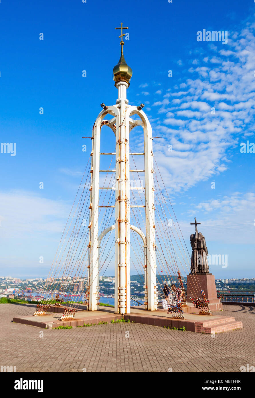 Chapel and Monument of Cyril and Methodius, Educators and creators of the Slavic alphabet Eagle Nest Mount in Vladivostok, Russia - Stock Image