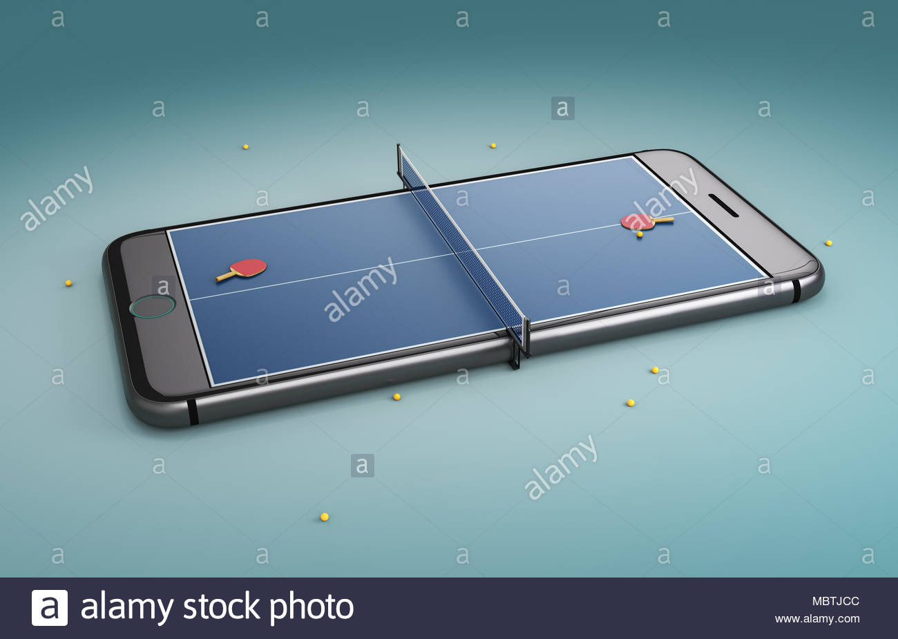 Mobile phone screen ping pong game concept. Minimal tennis table background design Stock Photo