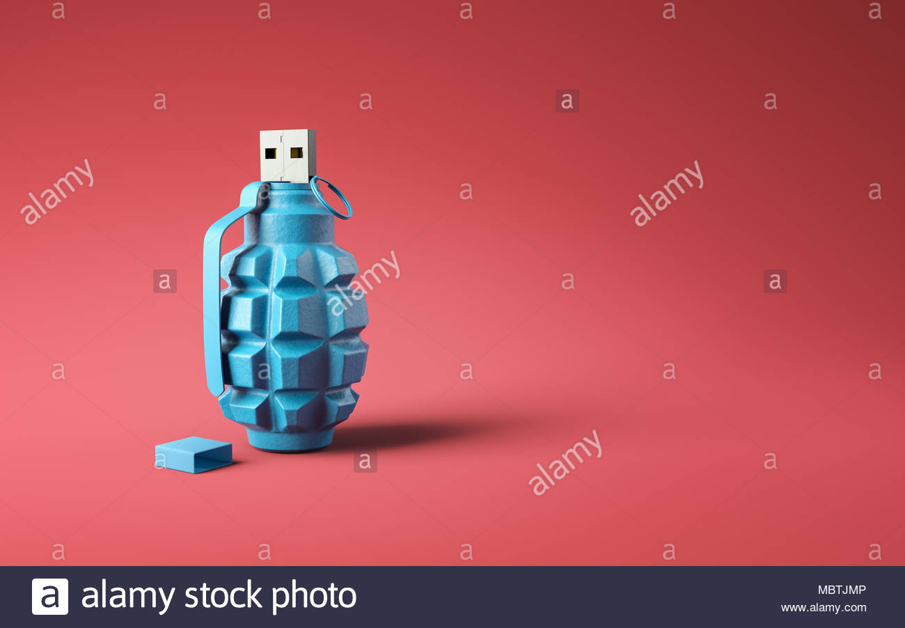 Flash drive usb pen safe data design on red background. Data protection minimal concept - Stock Image