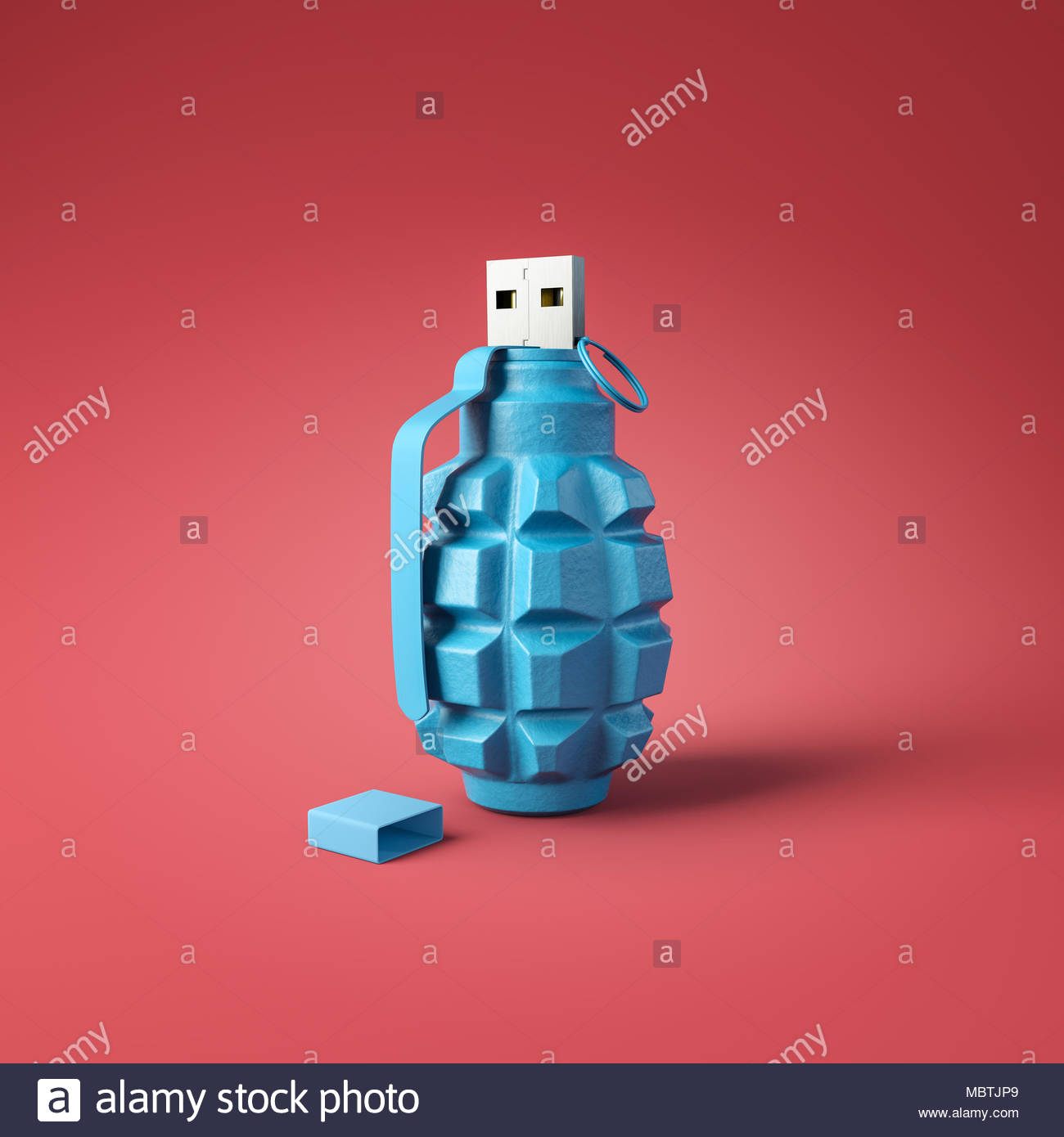 Flash drive usb pen safe data design on red square background. Data protection minimal concept - Stock Image