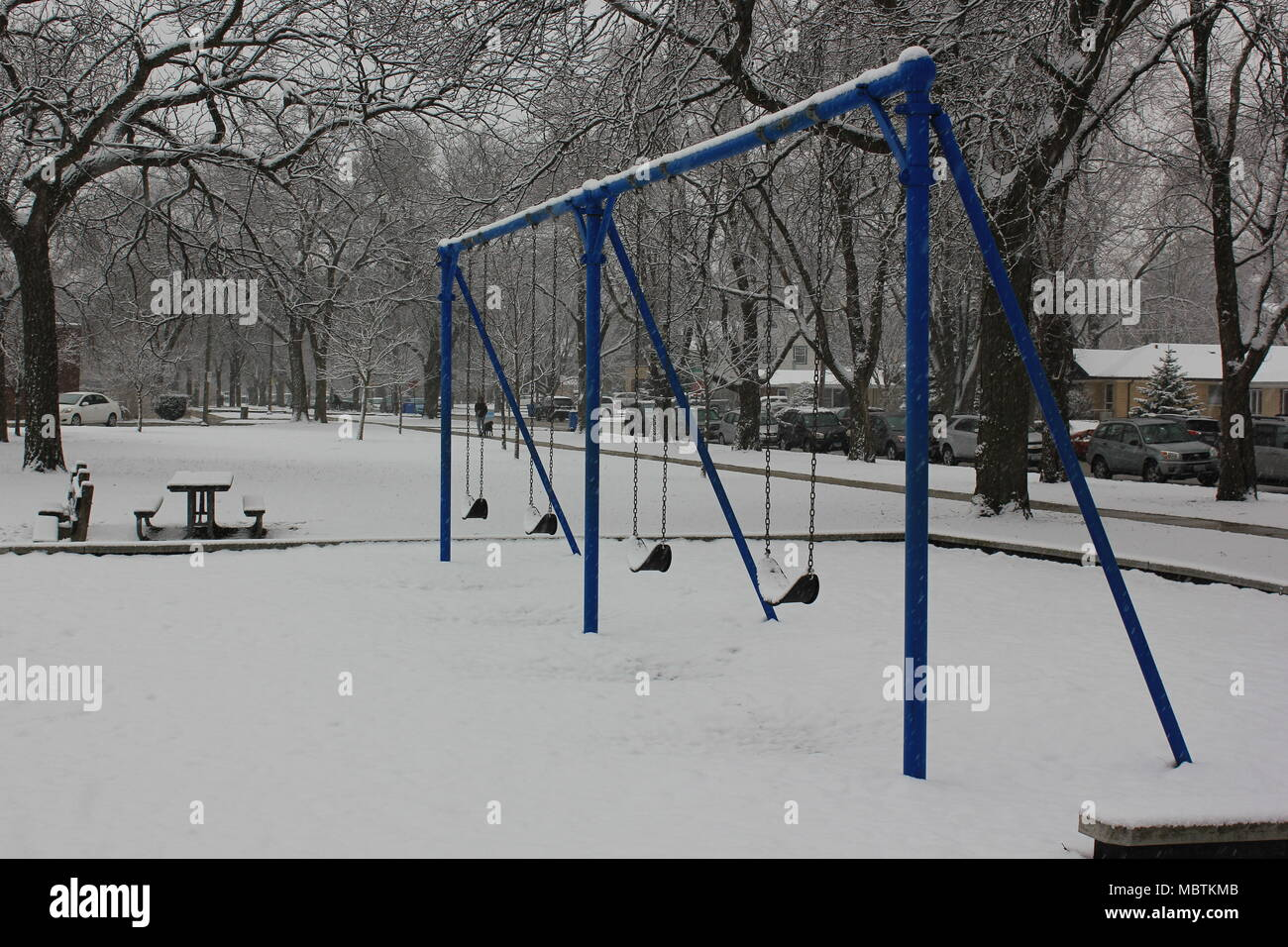 Chicago's Norwood Park just after snowfall in a cloudy day. - Stock Image