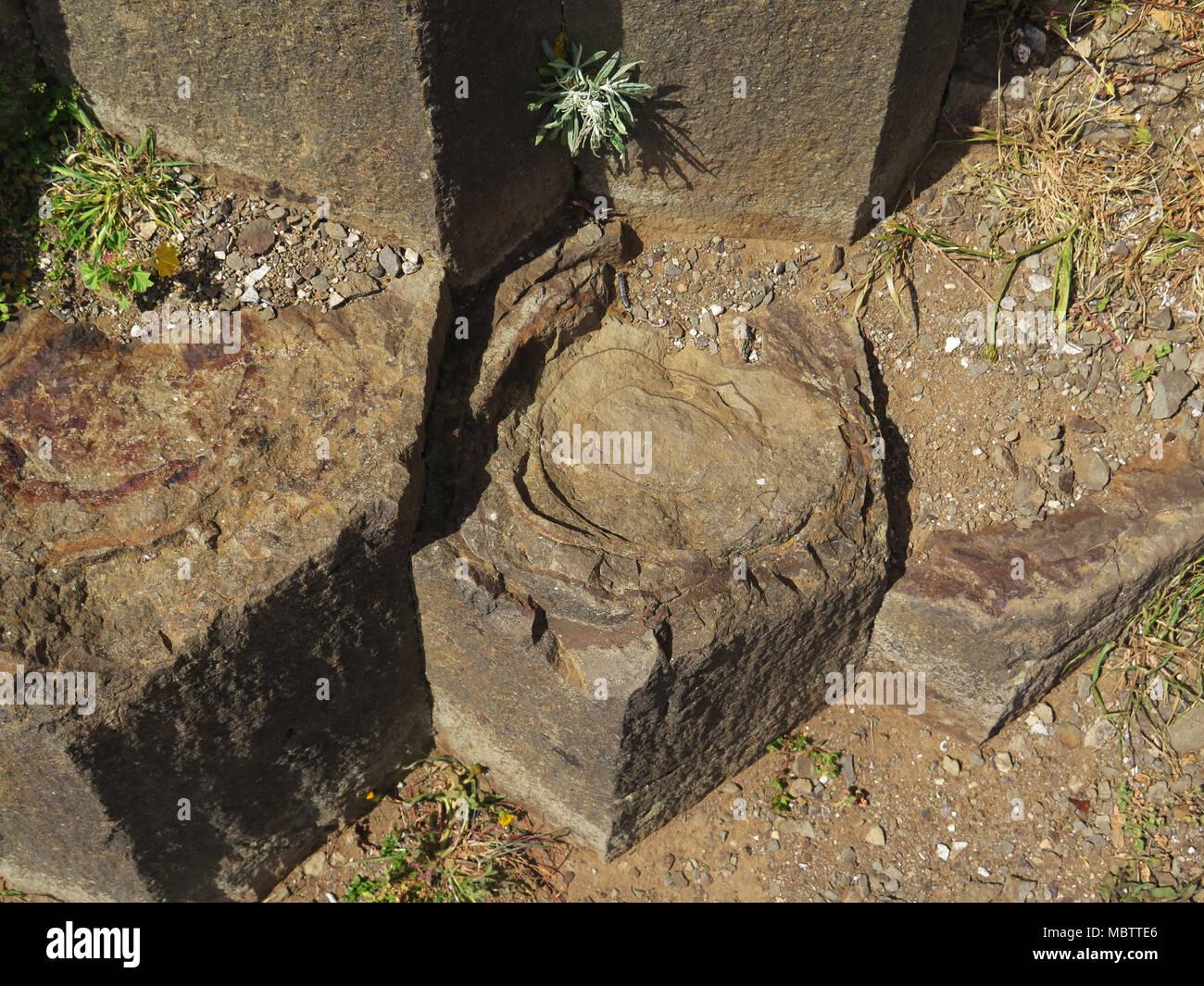 Portugal, Madeira, Porto Santo Island, Pico Ana Ferreira, volcanic, basalt, volcanoclastic, columnar structure, prisms, - Stock Image