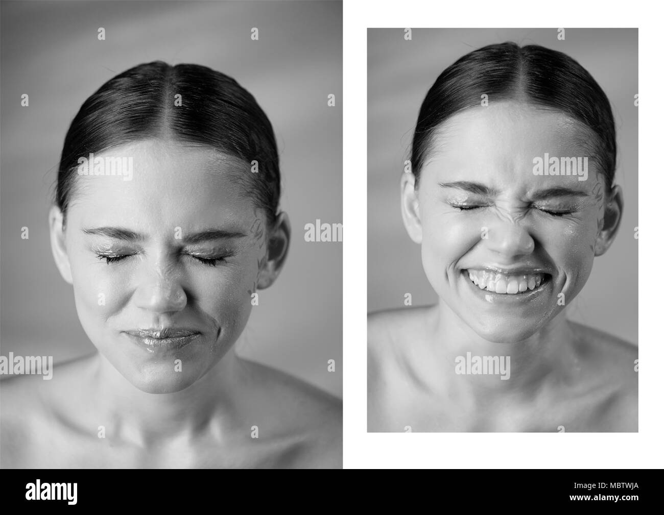 Portrait of young beautiful girl in Studio, with professional makeup.Beauty shooting.Emotional portrait. Wrinkled nose, smile from splashes of water in the face. Joy - Stock Image