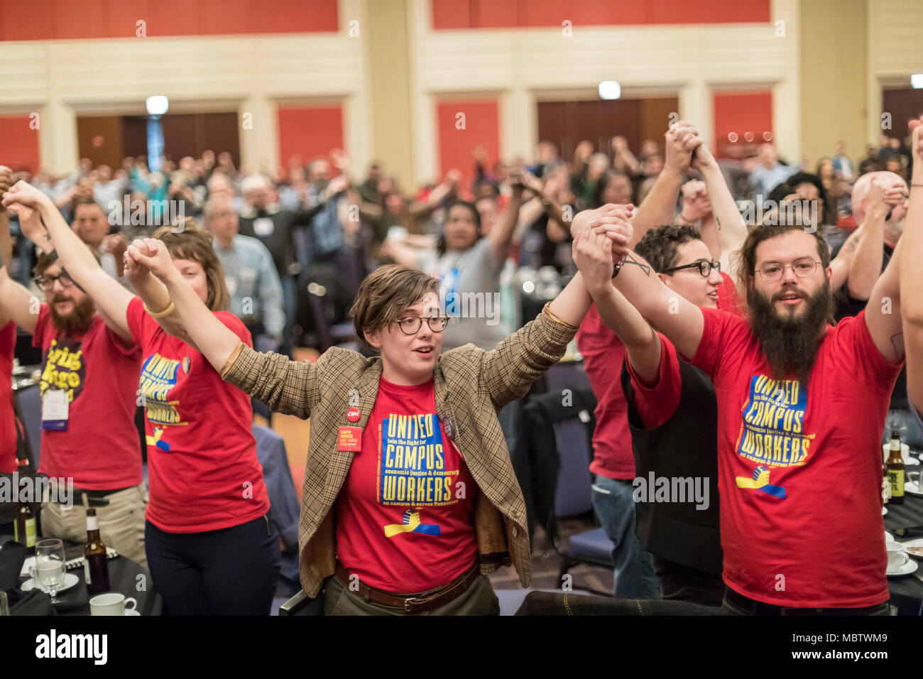 Chicago, Illinois - Members of the United Campus Workers at the University of Tennessee joined three thousand rank and file union activists from across the United States and beyond at the biannual Labor Notes conference to discuss how to revitalize the labor movement. - Stock Image