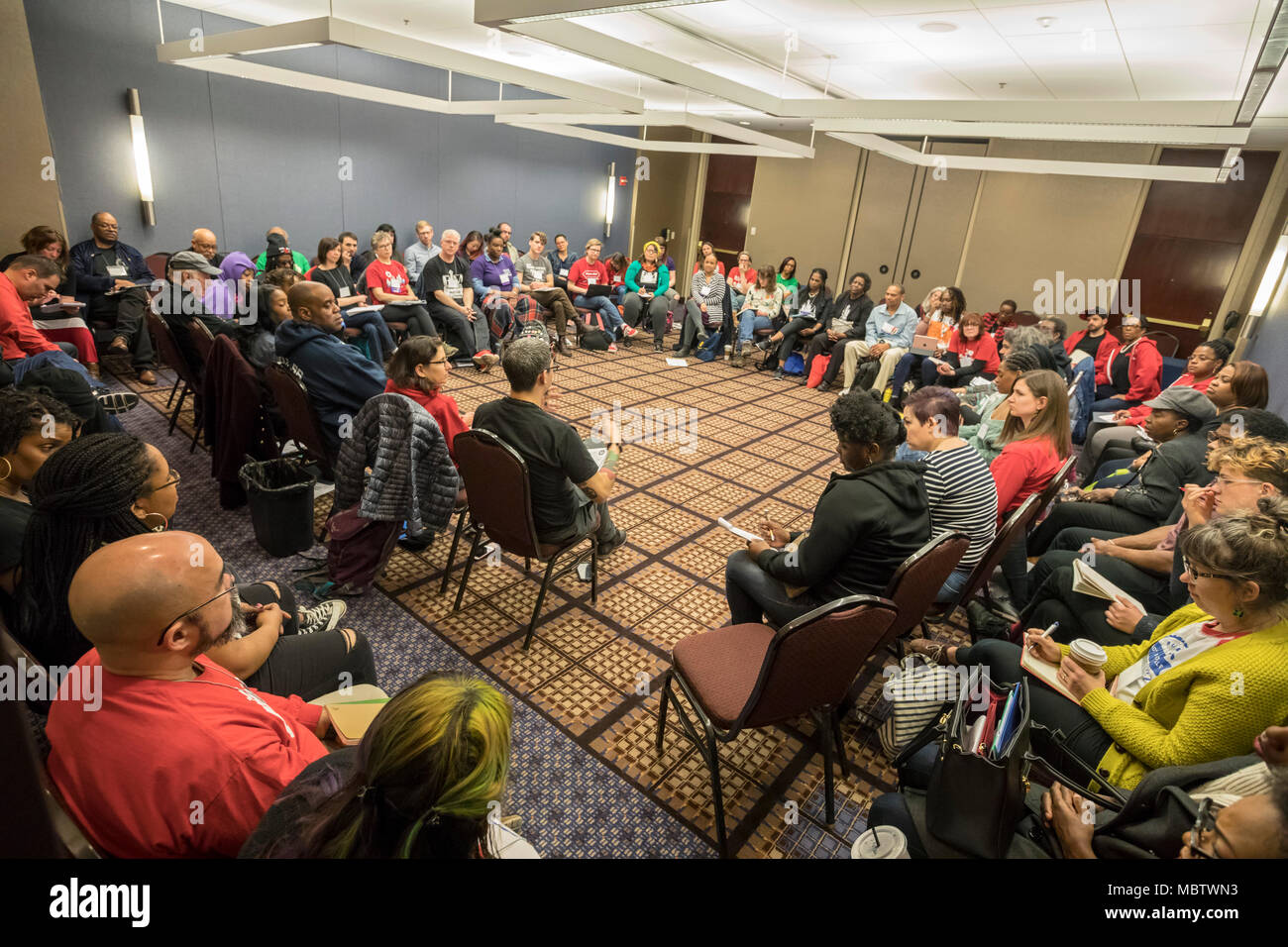 Chicago, Illinois - A workshop on Black Lives Matter in Schools at the biannual Labor Notes conference. Three thousand rank and file union activists from across the United States and beyond gathered at the conference to discuss how to revitalize the labor movement. - Stock Image